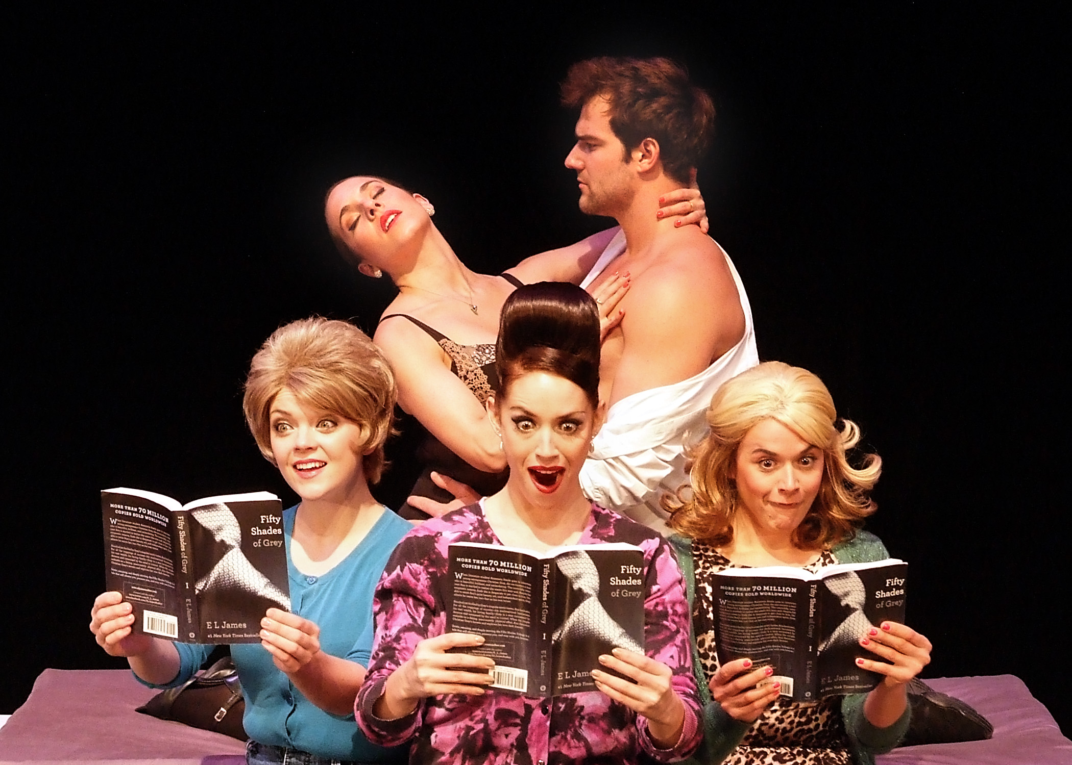 (L to R) Sheila O'Connor, Caroline Reade, Tiffany Dissette, BJ Gruber, Alexis Field in 50 Shades! The Musical.  Photo by Ed  Krieger